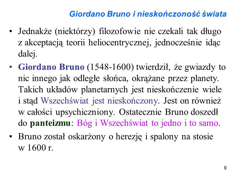 9 Giordano Bruno i nieskończoność świata Jednakże (niektórzy) filozofowie nie czekali tak długo z akceptacją teorii heliocentrycznej, jednocześnie idą