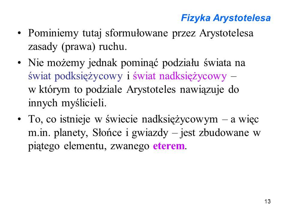13 Fizyka Arystotelesa Pominiemy tutaj sformułowane przez Arystotelesa zasady (prawa) ruchu. Nie możemy jednak pominąć podziału świata na świat podksi