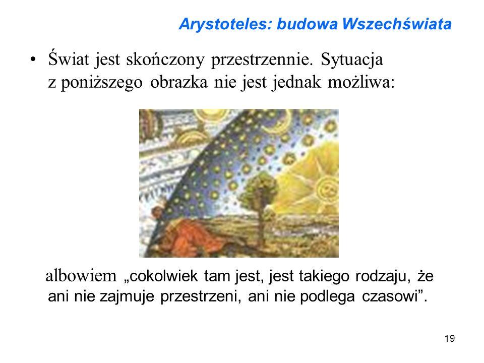 19 Arystoteles: budowa Wszechświata Świat jest skończony przestrzennie.