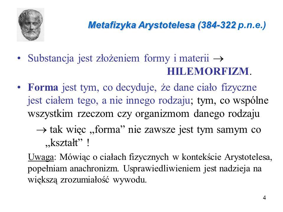 4 Substancja jest złożeniem formy i materii  HILEMORFIZM.