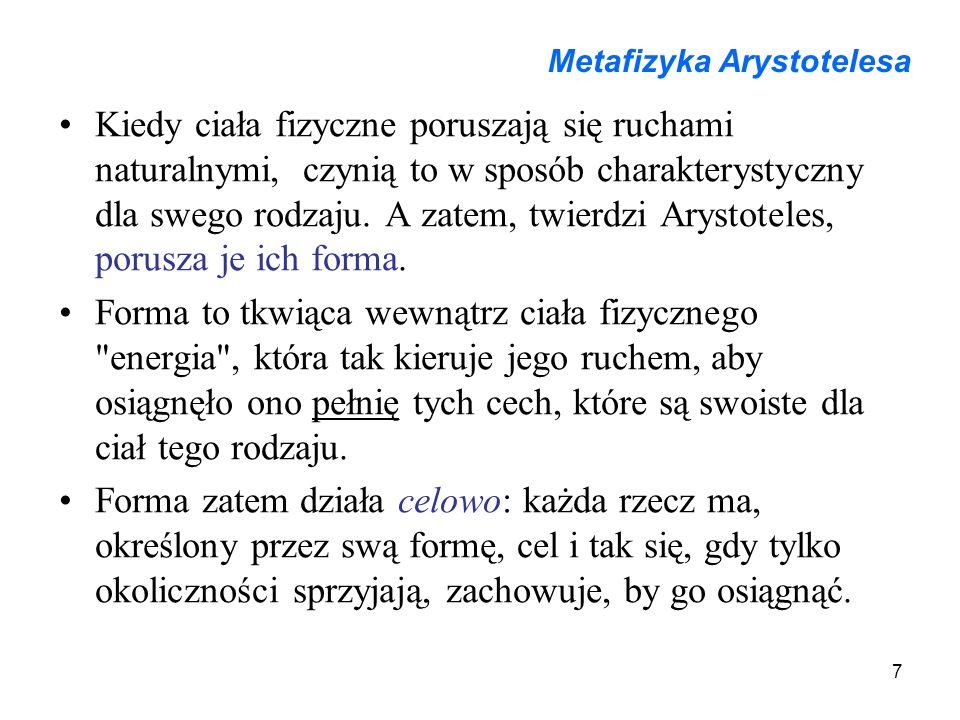 7 Metafizyka Arystotelesa Kiedy ciała fizyczne poruszają się ruchami naturalnymi, czynią to w sposób charakterystyczny dla swego rodzaju.