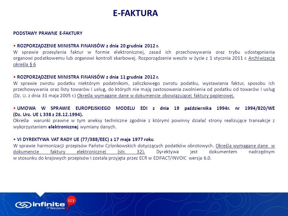 PODSTAWY PRAWNE E-FAKTURY ROZPORZĄDZENIE MINISTRA FINANSÓW z dnia 20 grudnia 2012 r.