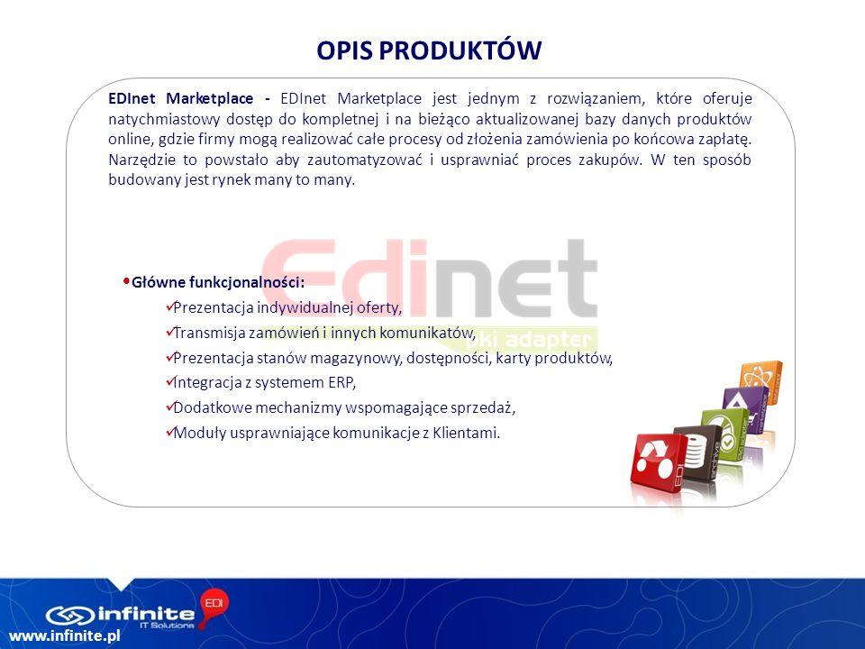 www.infinite.pl EDInet Marketplace - EDInet Marketplace jest jednym z rozwiązaniem, które oferuje natychmiastowy dostęp do kompletnej i na bieżąco aktualizowanej bazy danych produktów online, gdzie firmy mogą realizować całe procesy od złożenia zamówienia po końcowa zapłatę.