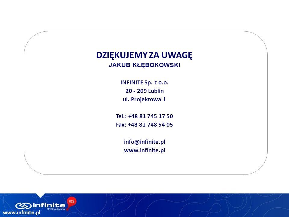 www.infinite.pl DZIĘKUJEMY ZA UWAGĘ JAKUB KŁĘBOKOWSKI INFINITE Sp.