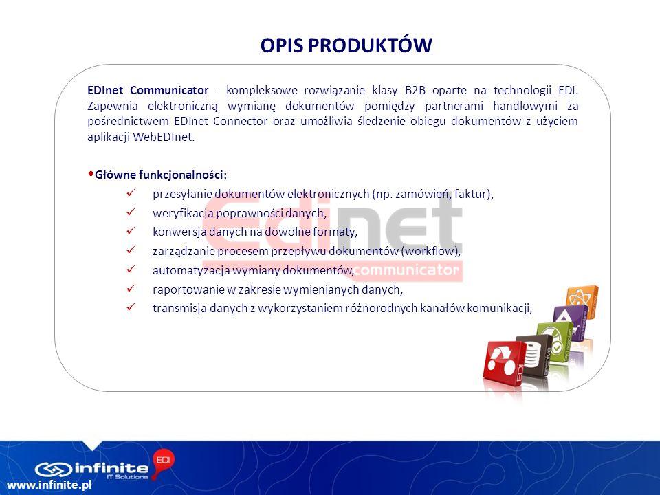 www.infinite.pl EDInet Communicator - kompleksowe rozwiązanie klasy B2B oparte na technologii EDI.