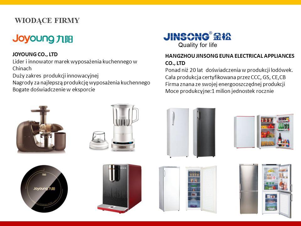 JOYOUNG CO., LTD Lider i innowator marek wyposażenia kuchennego w Chinach Duży zakres produkcji innowacyjnej Nagrody za najlepszą produkcję wyposażenia kuchennego Bogate doświadczenie w eksporcie HANGZHOU JINSONG EUNA ELECTRICAL APPLIANCES CO., LTD Ponad niż 20 lat doświadczenia w produkcji lodówek.