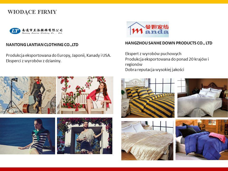 WIODĄCE FIRMY NANTONG LANTIAN CLOTHING CO.,LTD Produkcja eksportowana do Europy, Japonii, Kanady i USA.