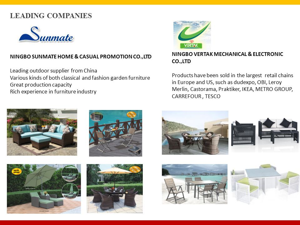 LEADING COMPANIES NINGBO SUNMATE HOME & CASUAL PROMOTION CO.,LTD Leading outdoor supplier from China Various kinds of both classical and fashion garden furniture Great production capacity Rich experience in furniture industry NINGBO VERTAK MECHANICAL & ELECTRONIC CO.,LTD Products have been sold in the largest retail chains in Europe and US, such as dudexpo, OBI, Leroy Merlin, Castorama, Praktiker, IKEA, METRO GROUP, CARREFOUR, TESCO