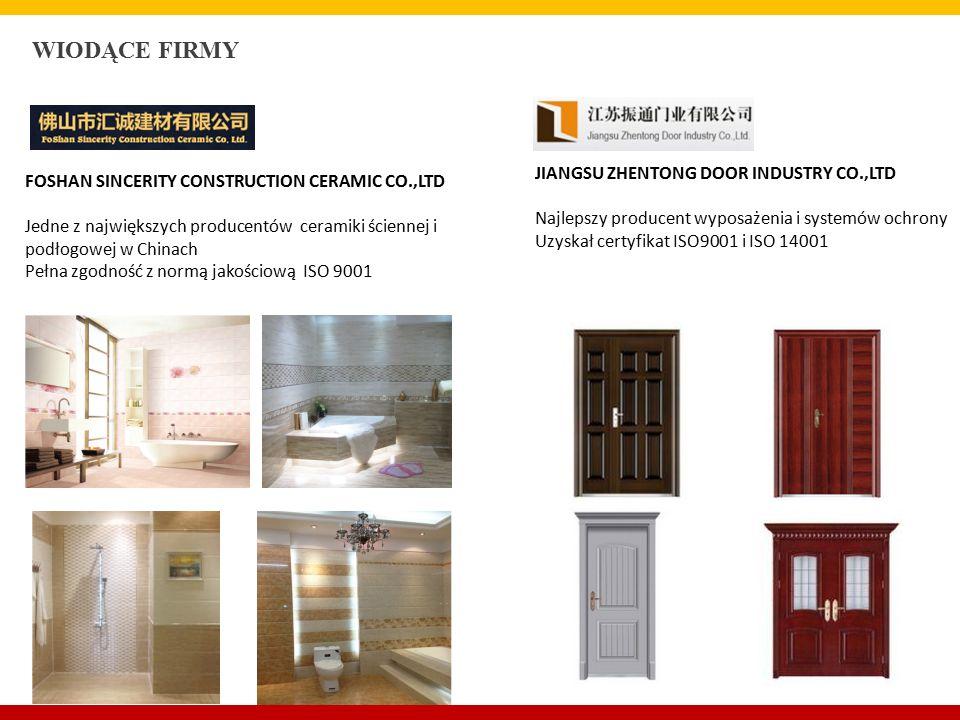 FOSHAN SINCERITY CONSTRUCTION CERAMIC CO.,LTD Jedne z największych producentów ceramiki ściennej i podłogowej w Chinach Pełna zgodność z normą jakościową ISO 9001 WIODĄCE FIRMY JIANGSU ZHENTONG DOOR INDUSTRY CO.,LTD Najlepszy producent wyposażenia i systemów ochrony Uzyskał certyfikat ISO9001 i ISO 14001