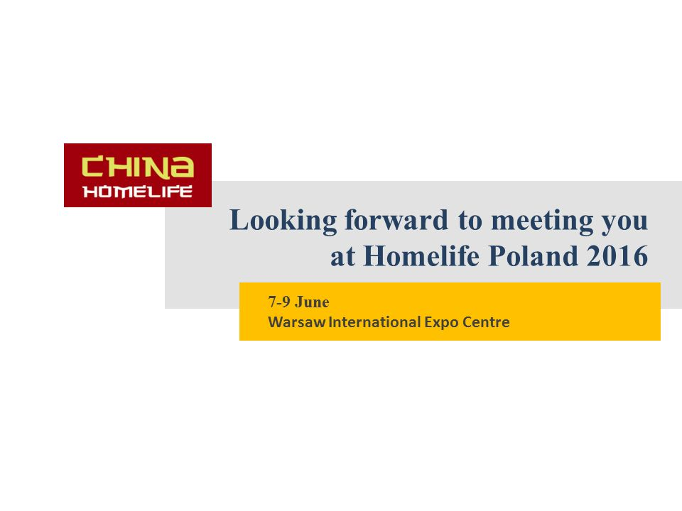 Looking forward to meeting you at Homelife Poland 2016 7-9 June Warsaw International Expo Centre