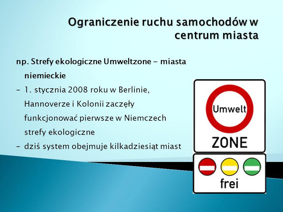 Ograniczenie ruchu samochodów w centrum miasta np.