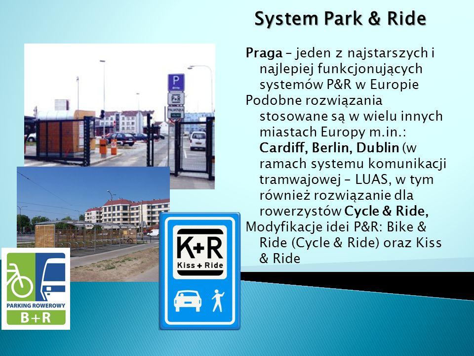 System Park & Ride Praga – jeden z najstarszych i najlepiej funkcjonujących systemów P&R w Europie Podobne rozwiązania stosowane są w wielu innych miastach Europy m.in.: Cardiff, Berlin, Dublin (w ramach systemu komunikacji tramwajowej – LUAS, w tym również rozwiązanie dla rowerzystów Cycle & Ride, Modyfikacje idei P&R: Bike & Ride (Cycle & Ride) oraz Kiss & Ride