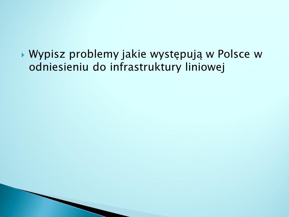  Wypisz problemy jakie występują w Polsce w odniesieniu do infrastruktury liniowej