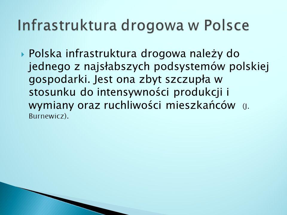  Polska infrastruktura drogowa należy do jednego z najsłabszych podsystemów polskiej gospodarki.