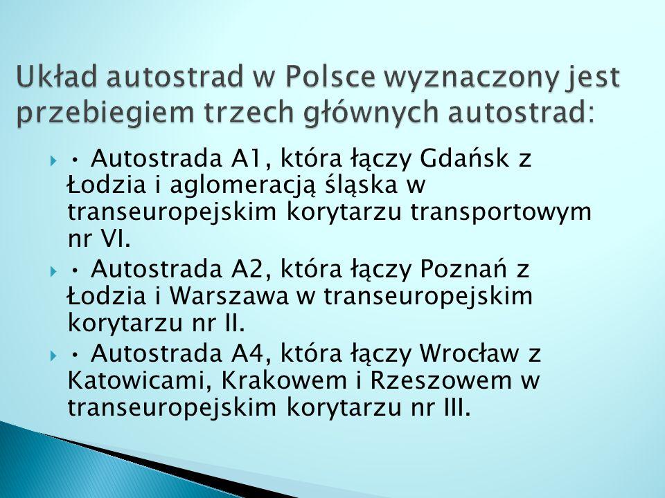  Autostrada A1, która łączy Gdańsk z Łodzia i aglomeracją śląska w transeuropejskim korytarzu transportowym nr VI.