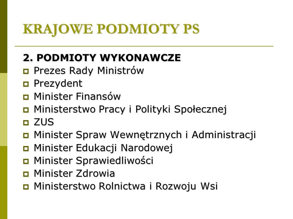 KRAJOWE PODMIOTY PS 2. PODMIOTY WYKONAWCZE  Prezes Rady Ministrów  Prezydent  Minister Finansów  Ministerstwo Pracy i Polityki Społecznej  ZUS 