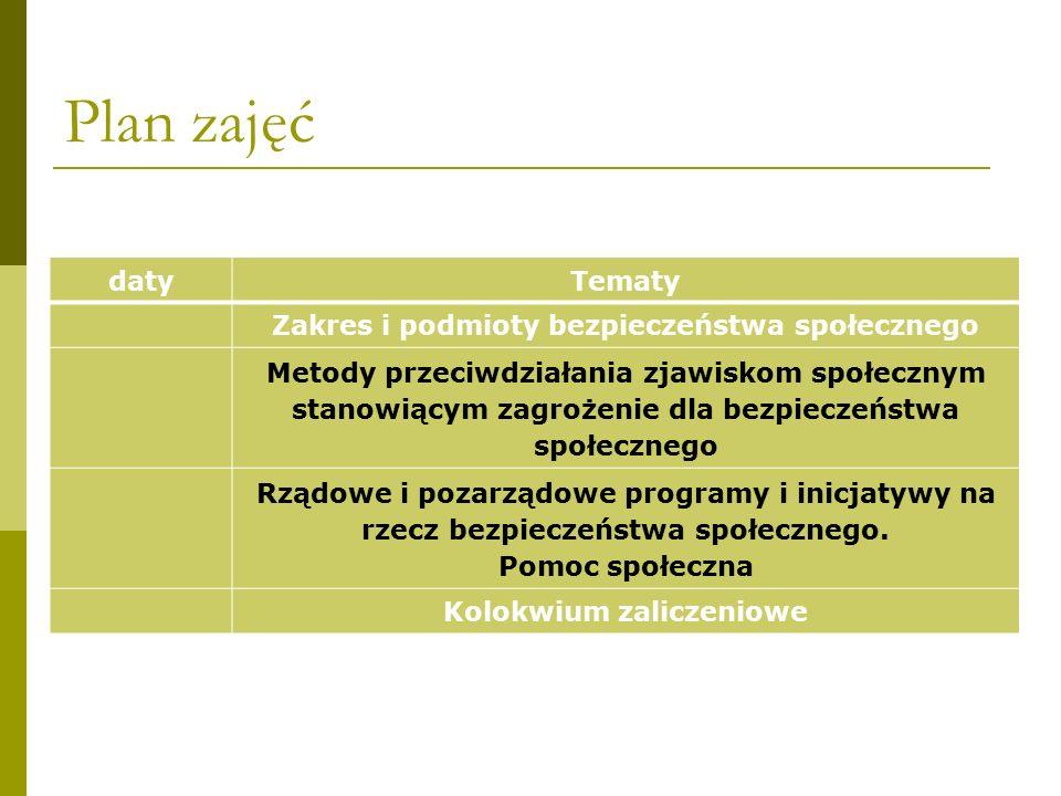 Plan zajęć datyTematy Zakres i podmioty bezpieczeństwa społecznego Metody przeciwdziałania zjawiskom społecznym stanowiącym zagrożenie dla bezpieczeńs
