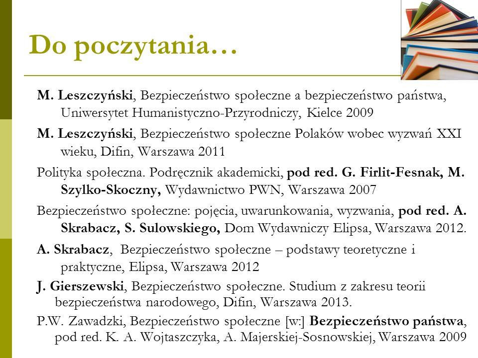 Do poczytania… M. Leszczyński, Bezpieczeństwo społeczne a bezpieczeństwo państwa, Uniwersytet Humanistyczno-Przyrodniczy, Kielce 2009 M. Leszczyński,