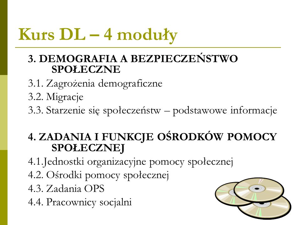 Kurs DL – 4 moduły 3. DEMOGRAFIA A BEZPIECZEŃSTWO SPOŁECZNE 3.1. Zagrożenia demograficzne 3.2. Migracje 3.3. Starzenie się społeczeństw – podstawowe i