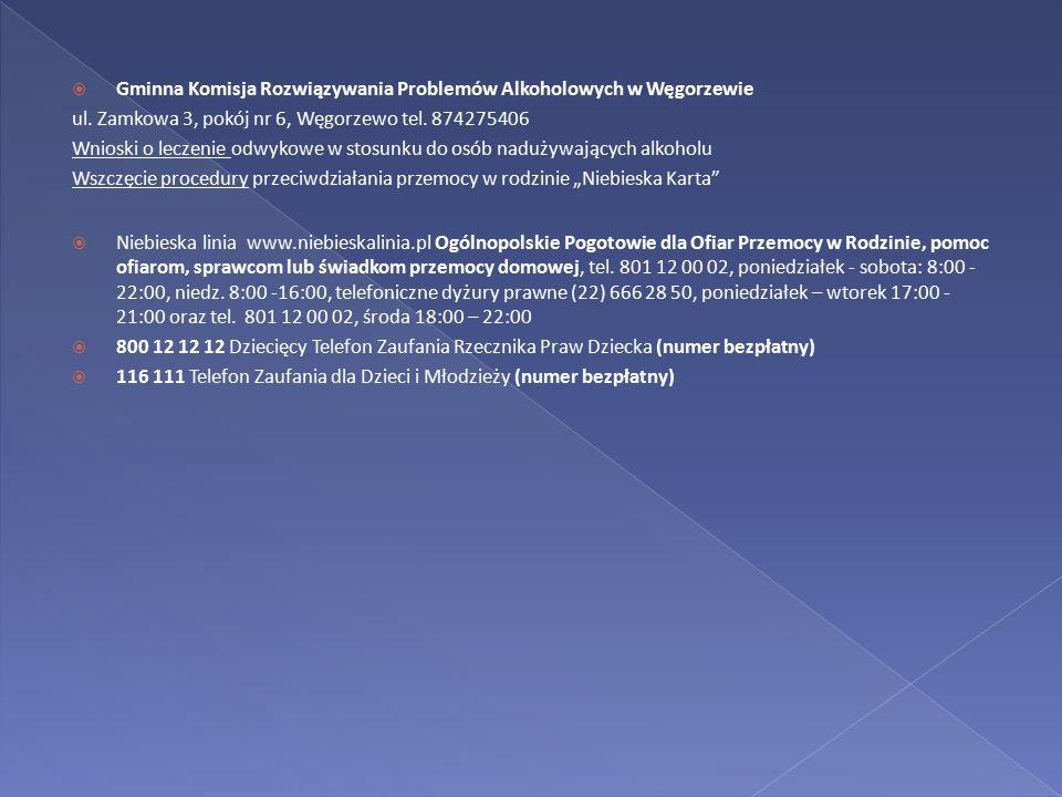  Gminna Komisja Rozwiązywania Problemów Alkoholowych w Węgorzewie ul. Zamkowa 3, pokój nr 6, Węgorzewo tel. 874275406 Wnioski o leczenie odwykowe w s