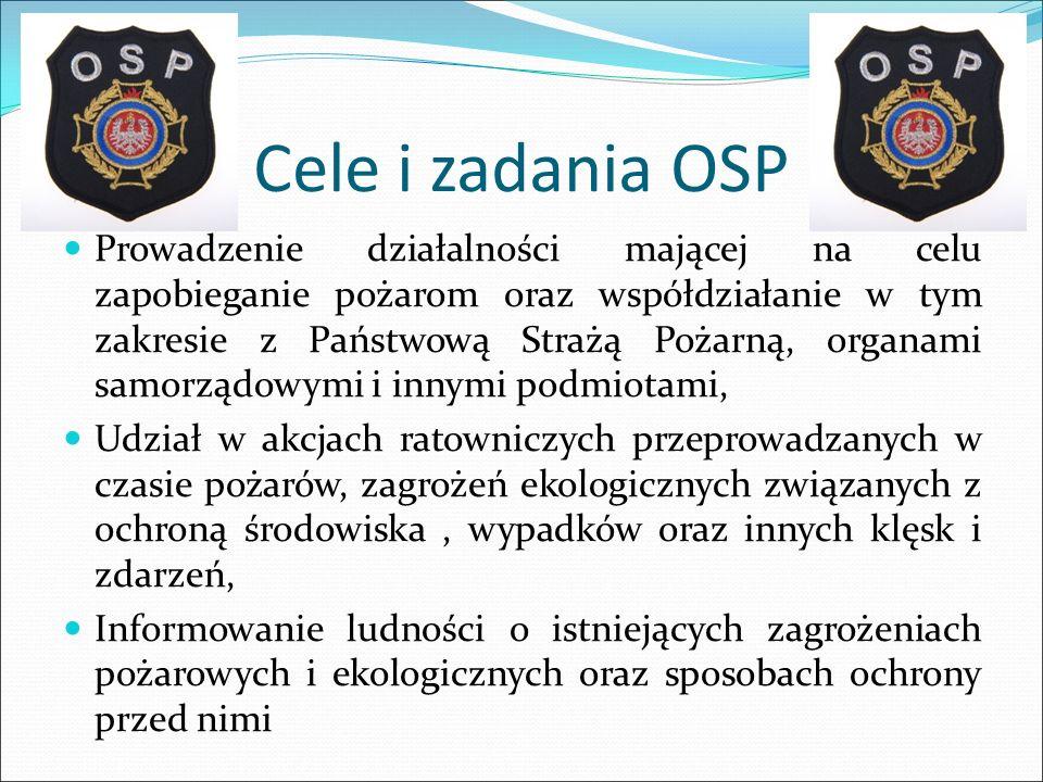Cele i zadania OSP Prowadzenie działalności mającej na celu zapobieganie pożarom oraz współdziałanie w tym zakresie z Państwową Strażą Pożarną, organa