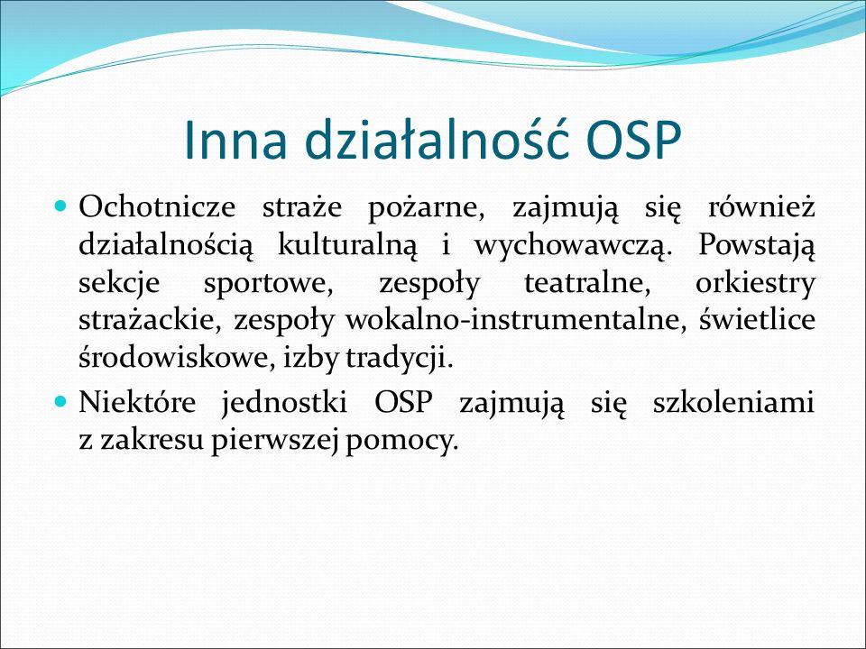 Inna działalność OSP Ochotnicze straże pożarne, zajmują się również działalnością kulturalną i wychowawczą. Powstają sekcje sportowe, zespoły teatraln
