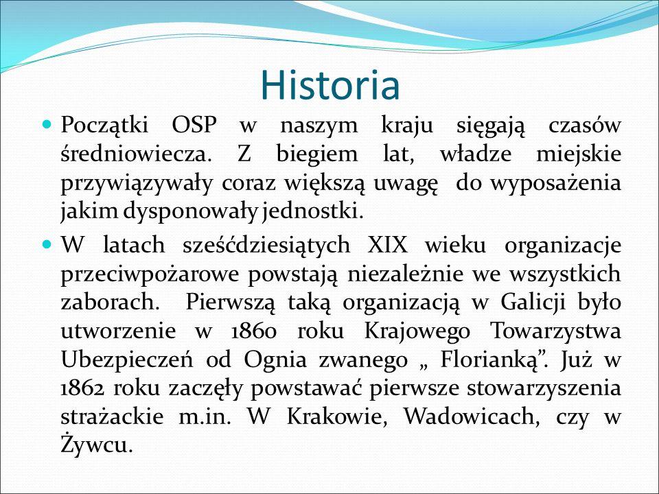 Historia Początki OSP w naszym kraju sięgają czasów średniowiecza. Z biegiem lat, władze miejskie przywiązywały coraz większą uwagę do wyposażenia jak
