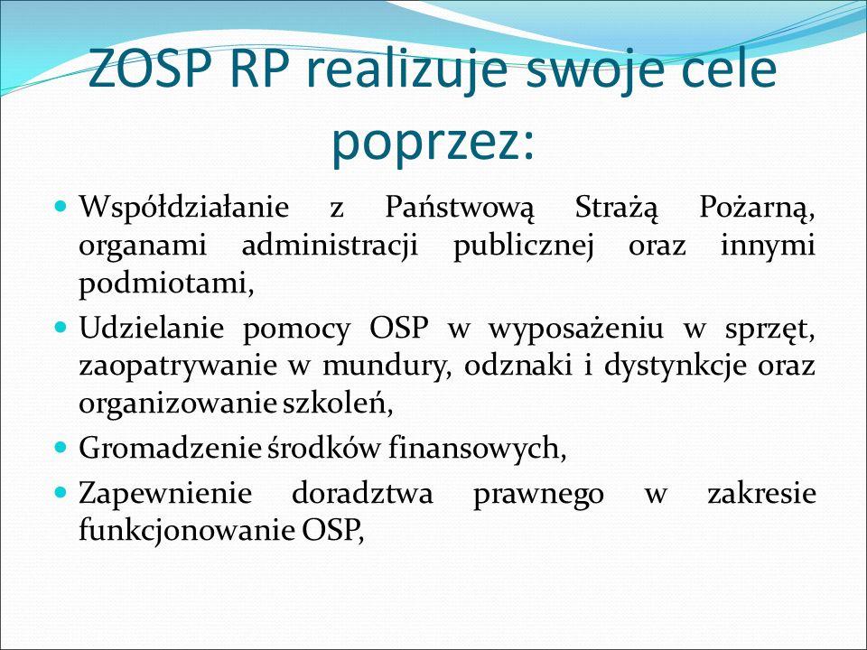 ZOSP RP realizuje swoje cele poprzez: Współdziałanie z Państwową Strażą Pożarną, organami administracji publicznej oraz innymi podmiotami, Udzielanie pomocy OSP w wyposażeniu w sprzęt, zaopatrywanie w mundury, odznaki i dystynkcje oraz organizowanie szkoleń, Gromadzenie środków finansowych, Zapewnienie doradztwa prawnego w zakresie funkcjonowanie OSP,