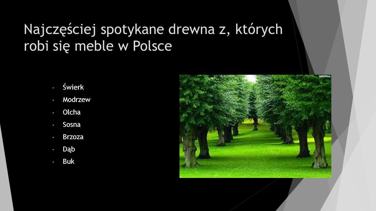 Najczęściej spotykane drewna z, których robi się meble w Polsce - Świerk - Modrzew - Olcha - Sosna - Brzoza - Dąb - Buk