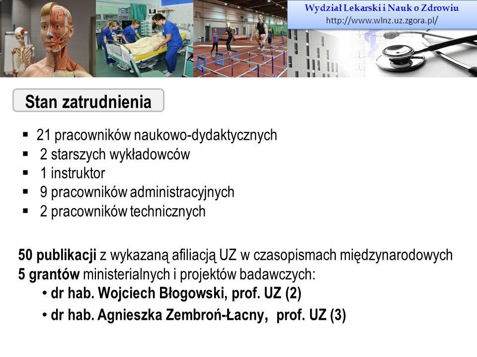 Wydział Lekarski i Nauk o Zdrowiu http://www.wlnz.uz.zgora.pl / Wydział Lekarski i Nauk o Zdrowiu http://www.wlnz.uz.zgora.pl / Stan zatrudnienia  21