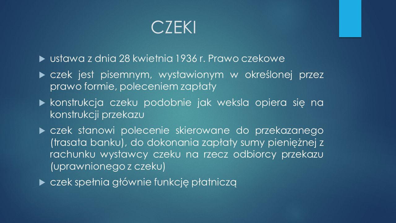 CZEKI  ustawa z dnia 28 kwietnia 1936 r.
