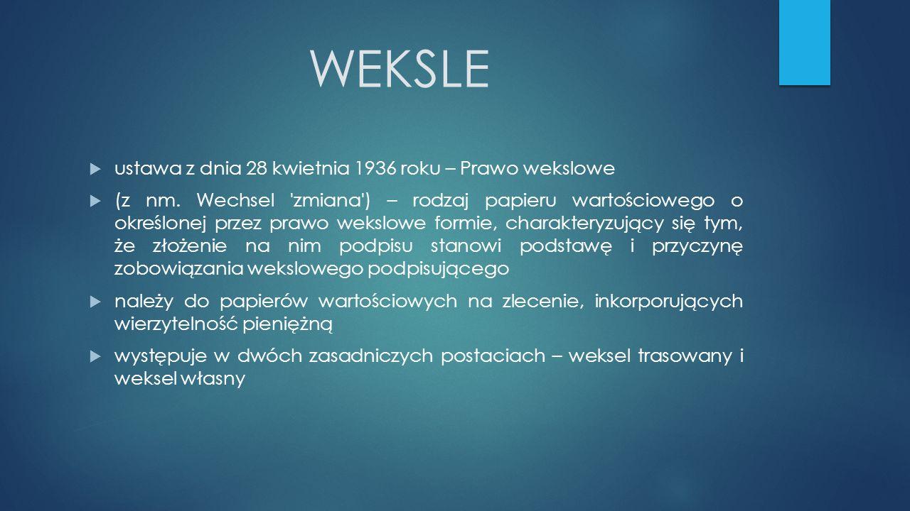 WEKSLE  ustawa z dnia 28 kwietnia 1936 roku – Prawo wekslowe  (z nm.