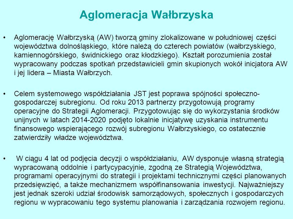 Aglomeracja Wałbrzyska Aglomerację Wałbrzyską (AW) tworzą gminy zlokalizowane w południowej części województwa dolnośląskiego, które należą do czterech powiatów (wałbrzyskiego, kamiennogórskiego, świdnickiego oraz kłodzkiego).