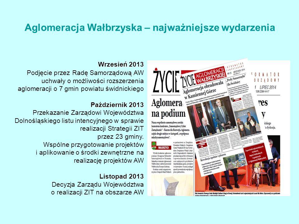 Wrzesień 2013 Podjęcie przez Radę Samorządową AW uchwały o możliwości rozszerzenia aglomeracji o 7 gmin powiatu świdnickiego Październik 2013 Przekazanie Zarządowi Województwa Dolnośląskiego listu intencyjnego w sprawie realizacji Strategii ZIT przez 23 gminy.