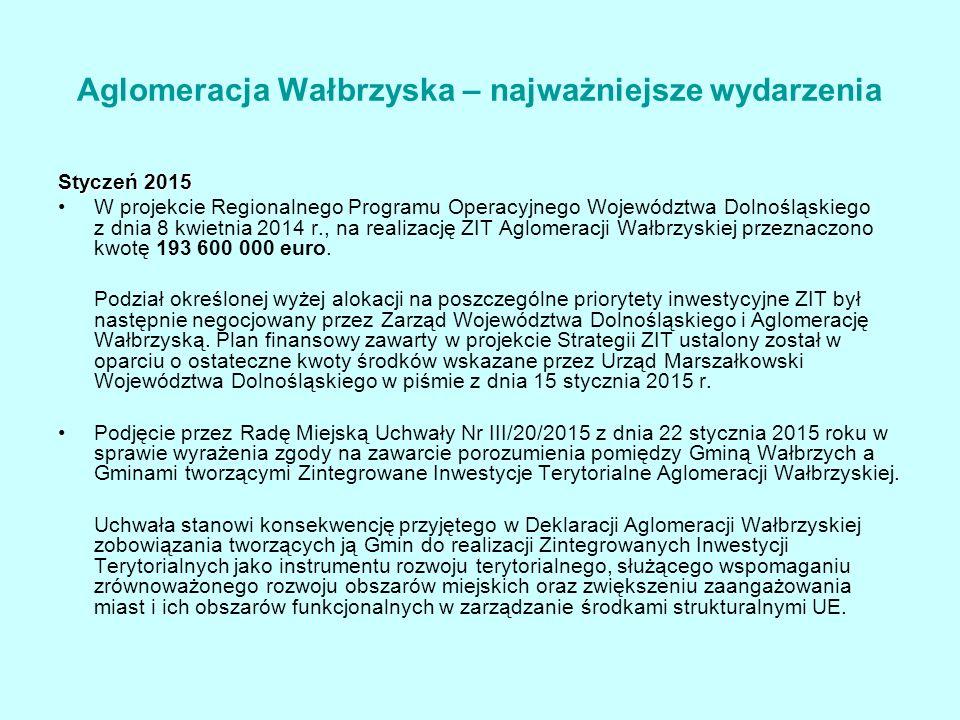Styczeń 2015 W projekcie Regionalnego Programu Operacyjnego Województwa Dolnośląskiego z dnia 8 kwietnia 2014 r., na realizację ZIT Aglomeracji Wałbrzyskiej przeznaczono kwotę 193 600 000 euro.