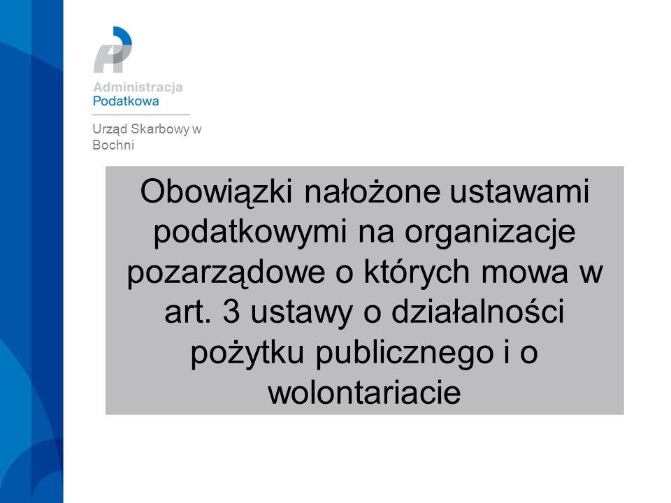 Obowiązki nałożone ustawami podatkowymi na organizacje pozarządowe o których mowa w art.