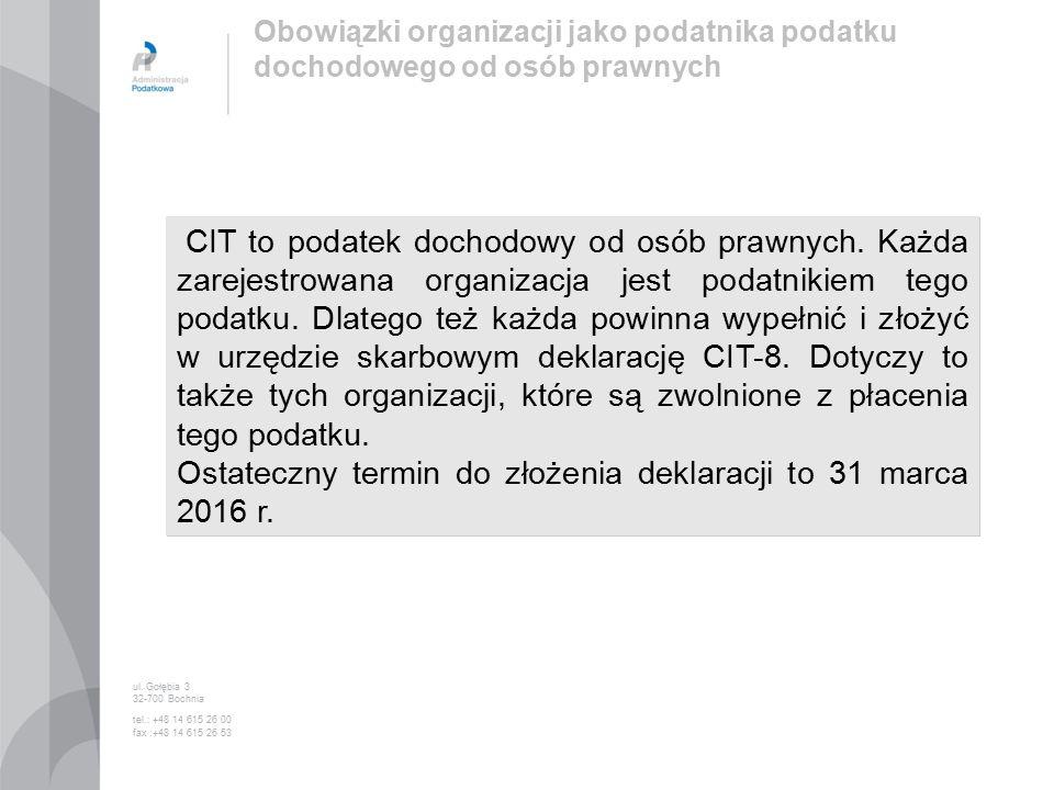 CIT to podatek dochodowy od osób prawnych.