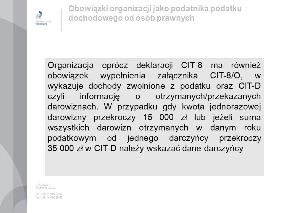 Organizacja oprócz deklaracji CIT-8 ma również obowiązek wypełnienia załącznika CIT-8/O, w wykazuje dochody zwolnione z podatku oraz CIT-D czyli informację o otrzymanych/przekazanych darowiznach.