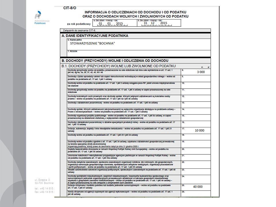 ul. Gołębia 3 32-700 Bochnia tel.: +48 14 615 26 00 fax :+48 14 615 26 53