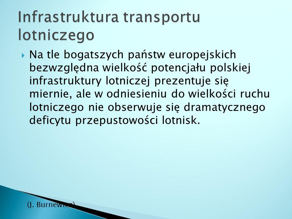  Na tle bogatszych państw europejskich bezwzględna wielkość potencjału polskiej infrastruktury lotniczej prezentuje się miernie, ale w odniesieniu do