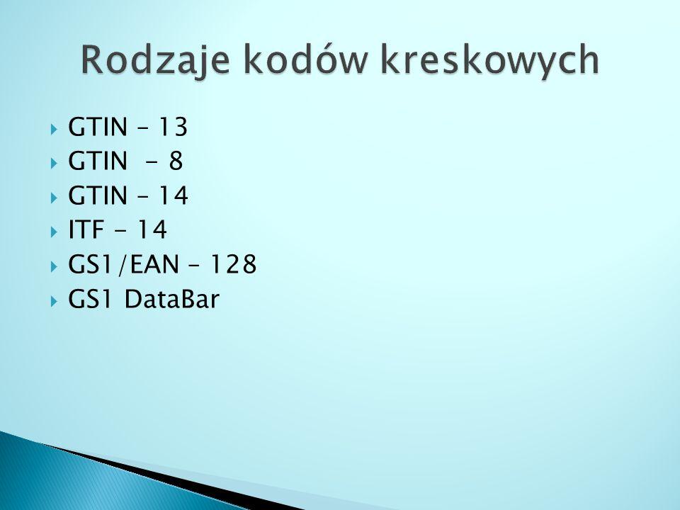  GTIN – 13  GTIN - 8  GTIN – 14  ITF - 14  GS1/EAN – 128  GS1 DataBar