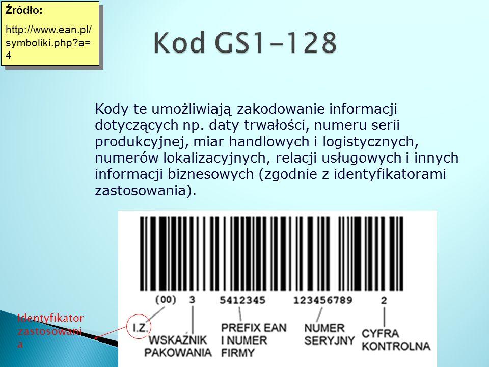 Źródło: http://www.ean.pl/ symboliki.php?a= 4 Źródło: http://www.ean.pl/ symboliki.php?a= 4 Kody te umożliwiają zakodowanie informacji dotyczących np.