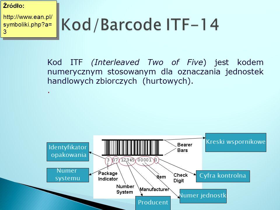 Źródło: http://www.ean.pl/ symboliki.php?a= 3 Źródło: http://www.ean.pl/ symboliki.php?a= 3 Kod ITF (Interleaved Two of Five) jest kodem numerycznym s