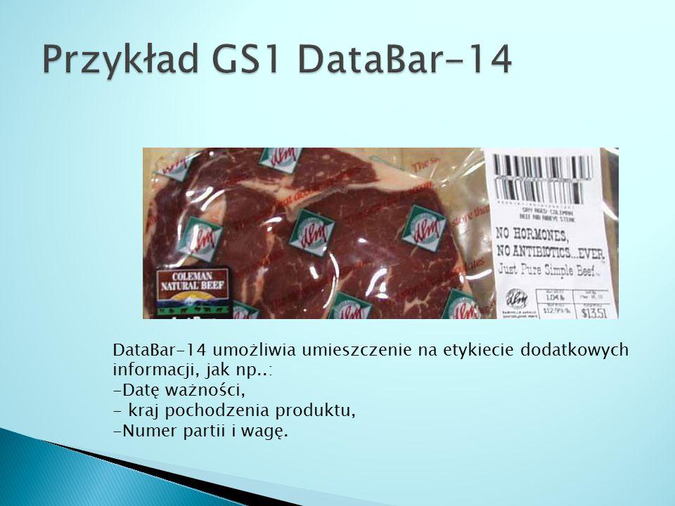 DataBar-14 umożliwia umieszczenie na etykiecie dodatkowych informacji, jak np..: -Datę ważności, - kraj pochodzenia produktu, -Numer partii i wagę.