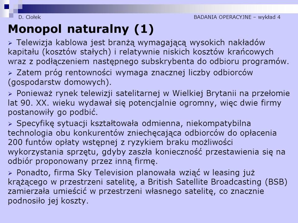 D. Ciołek BADANIA OPERACYJNE – wykład 4 Monopol naturalny (1)  Telewizja kablowa jest branżą wymagającą wysokich nakładów kapitału (kosztów stałych)