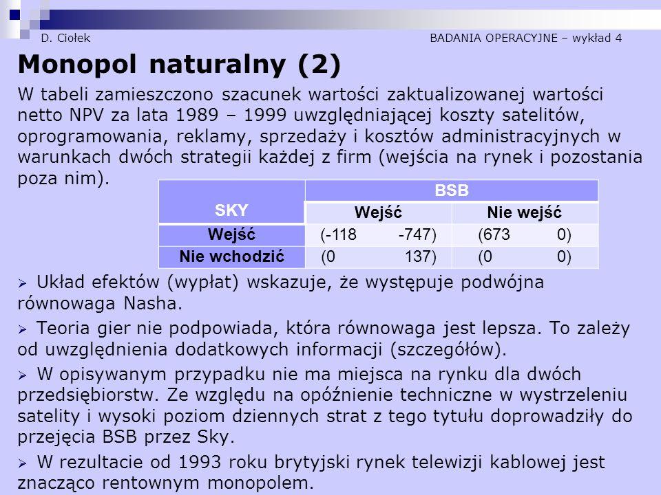 D. Ciołek BADANIA OPERACYJNE – wykład 4 Monopol naturalny (2) W tabeli zamieszczono szacunek wartości zaktualizowanej wartości netto NPV za lata 1989