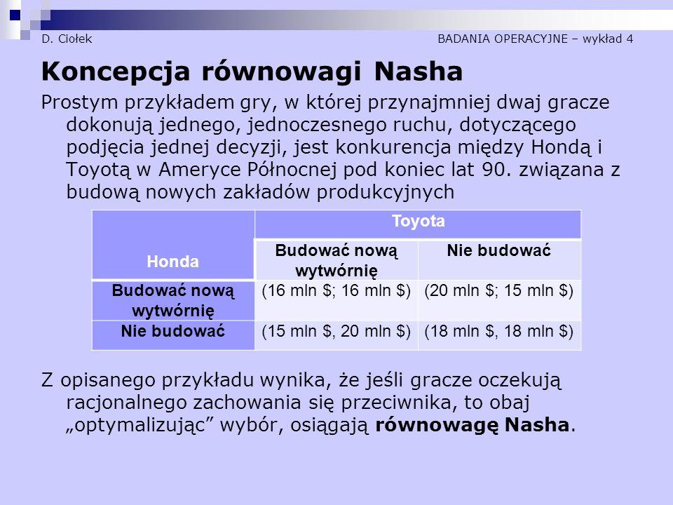 D. Ciołek BADANIA OPERACYJNE – wykład 4 Koncepcja równowagi Nasha Prostym przykładem gry, w której przynajmniej dwaj gracze dokonują jednego, jednocze