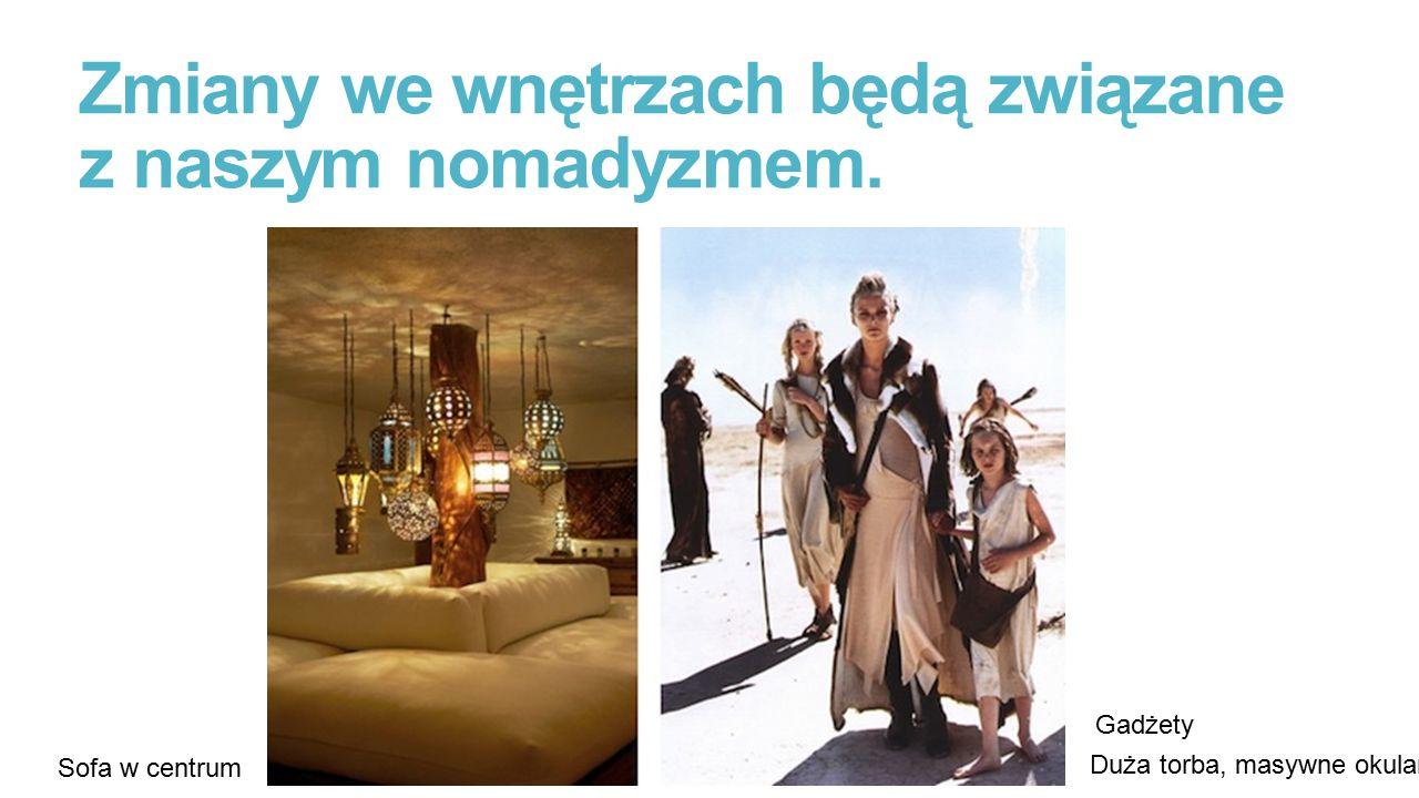 Zmiany we wnętrzach będą związane z naszym nomadyzmem. Duża torba, masywne okulary Sofa w centrum Gadżety
