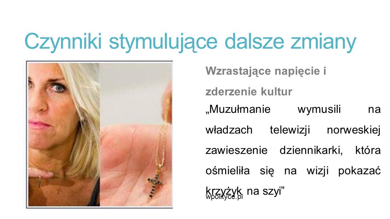 """Czynniki stymulujące dalsze zmiany Wzrastające napięcie i zderzenie kultur """"Muzułmanie wymusili na władzach telewizji norweskiej zawieszenie dziennikarki, która ośmieliła się na wizji pokazać krzyżyk na szyi wpolityce.pl"""