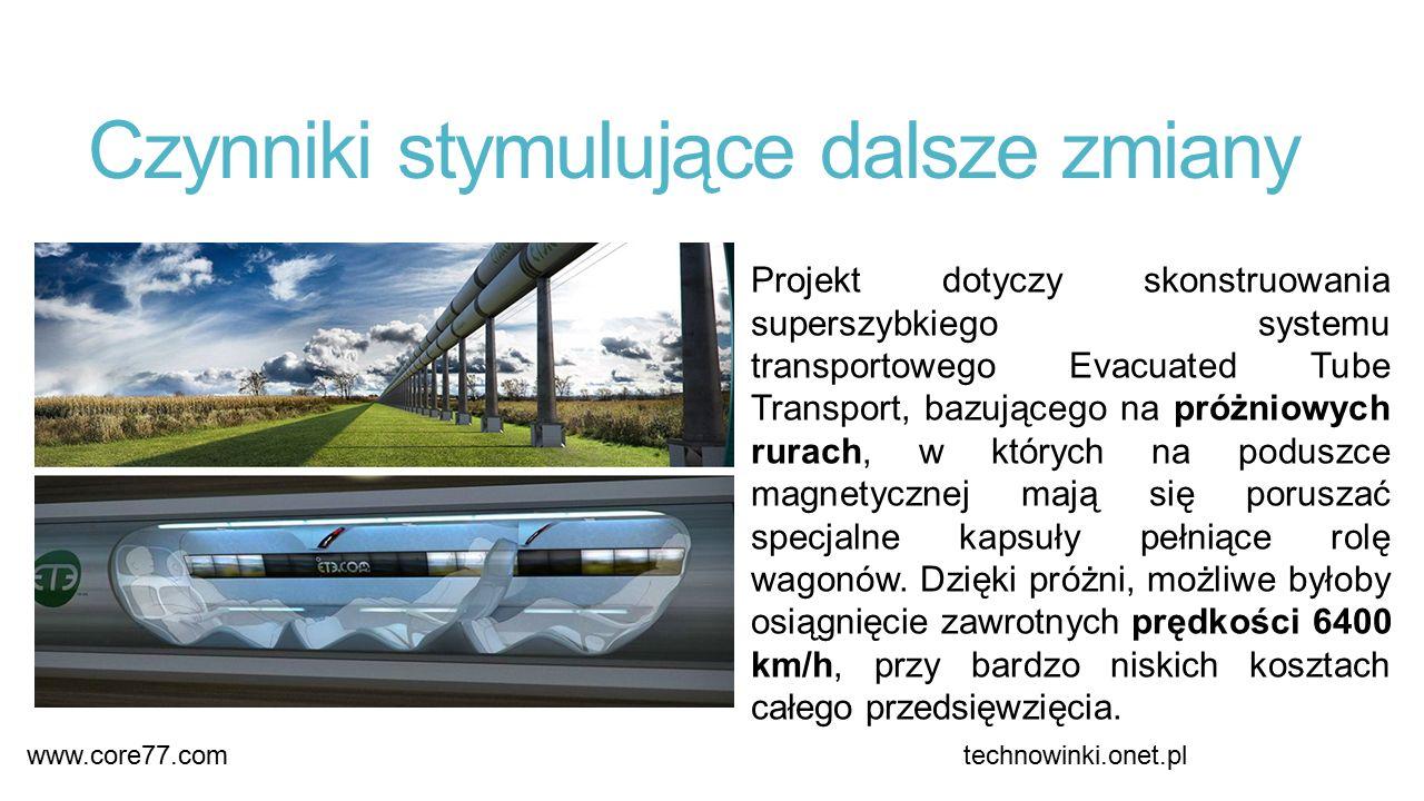 Czynniki stymulujące dalsze zmiany Projekt dotyczy skonstruowania superszybkiego systemu transportowego Evacuated Tube Transport, bazującego na próżniowych rurach, w których na poduszce magnetycznej mają się poruszać specjalne kapsuły pełniące rolę wagonów.